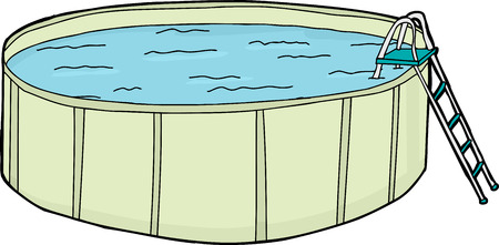 Single cartoon above ground pool with ladder over white