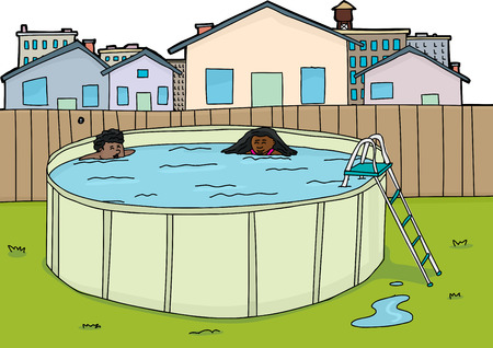 Pair of happy children in urban backyard pool Illustration
