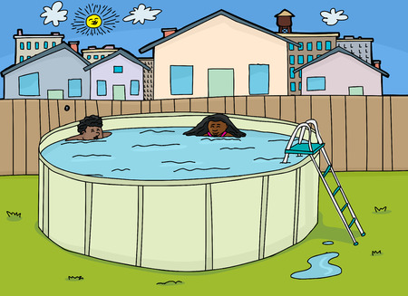 Cute brother and sister swimming in backyard pool Illustration