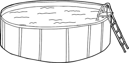 Outline cartoon of swimming pool with ladder