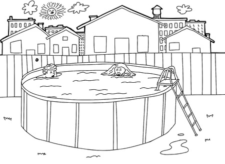 ladder  fence: Hand drawn outline of children in outdoor pool