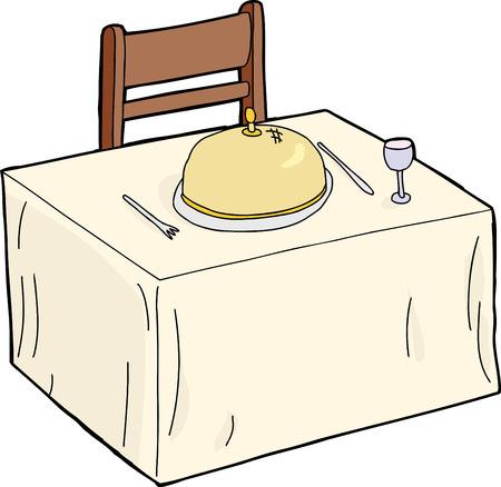 mesa de comedor: Mesa de comedor aislada con cloche y plater�a