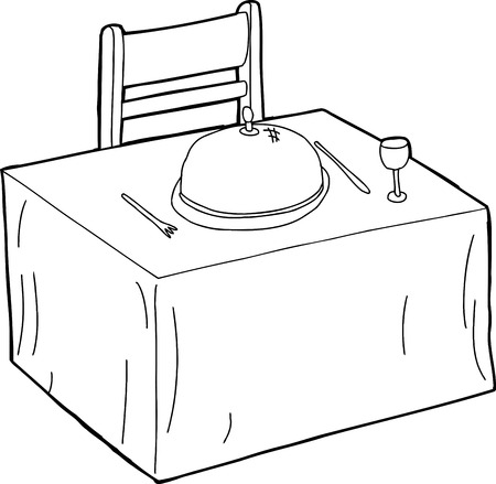 Hand drawn outline cartoon of dining table with chair Vector
