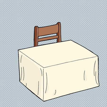 Empty table covered by tablecloth with chair