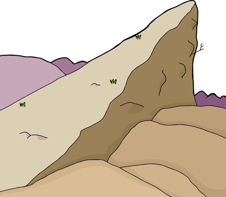 ledge: Isolated rock cliff in wilderness cartoon background Illustration