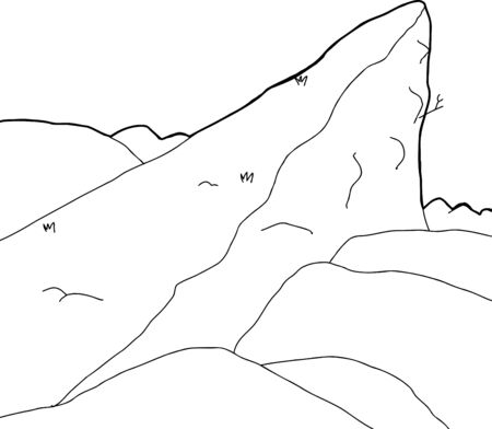 Outline cartoon background of high mountain summit Vector