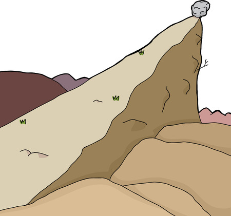 Isolated desert scene with large boulder on edge of cliff Vector