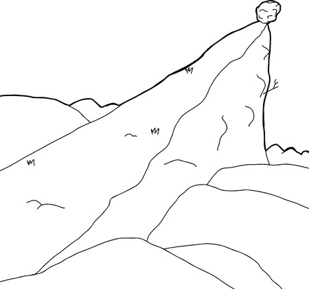 cliff edge: Outlined rock outcropping in with boulder cartoon background