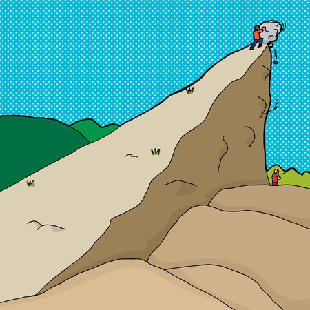 uphill: Man pushing boulder from cliff onto man below Illustration