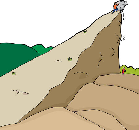 cliff edge: Person pushing boulder from cliff onto unaware man Illustration