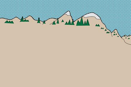 手描きハーフトーン空とカートゥーン亜寒帯山脈  イラスト・ベクター素材