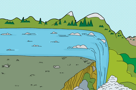 Waterfall rapids background cartoon with steep cliff