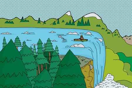 滝の急流の端の近くで立ち往生カヌー