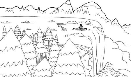 Outline cartoon of boat near edge of waterfall rapids