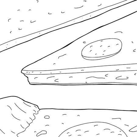 pepperoni: Outline cartoon of pizza slices with pepperoni on top Illustration