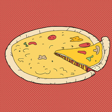 removing: Slice taken from cheese pizza over red background