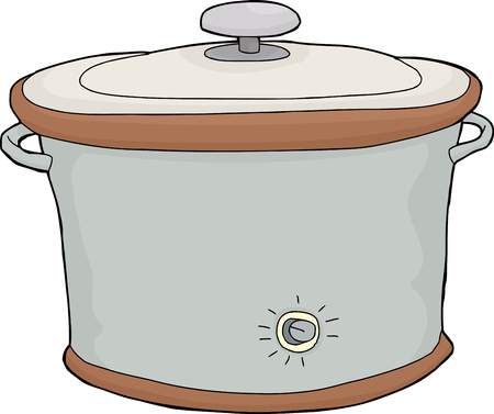 Isolated hand drawn cartoon electric slow cooker