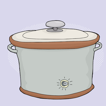 slow cooker: Cartoon electric slow cooker with closed lid