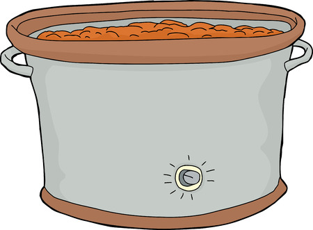 crock: Cartoon slow cooker with food over white background