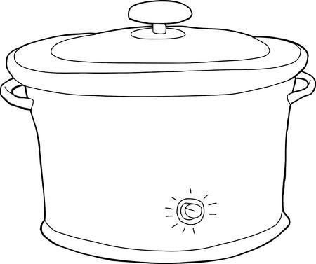 crock: Outline cartoon of closed electric slow cooker Illustration