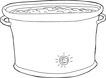 crock: Outline cartoon of crock pot with food inside Illustration