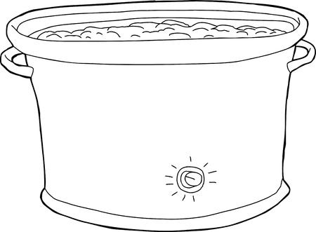 Outline cartoon of crock pot with food inside Illustration
