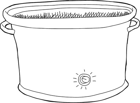 slow cooker: Single hand drawn empty cartoon electric slow cooker