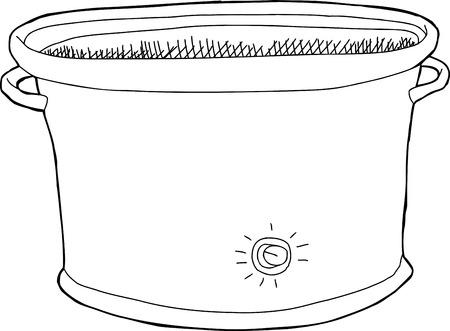 Single hand drawn empty cartoon electric slow cooker