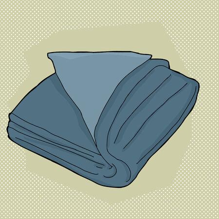 Single folded towel cartoon over green background