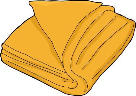 Single oranje gevouwen handdoek cartoon over wit Stock Illustratie