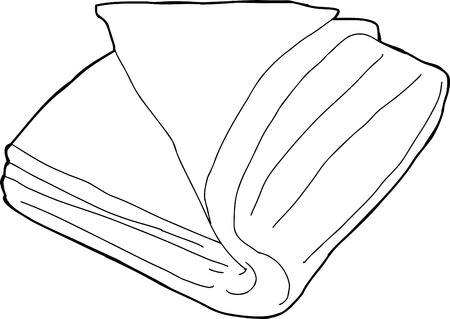 Outline of cartoon folded fabric over white background