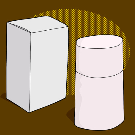 Generic perfume bottle and box over brown background Illustration