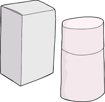 unprinted: Dibujado a mano envases de perfume de dibujos animados gen�ricos en blanco
