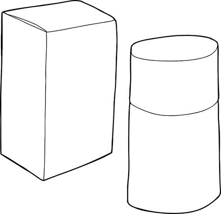 unprinted: Historieta del esquema de la peque�a caja con botella de la fragancia