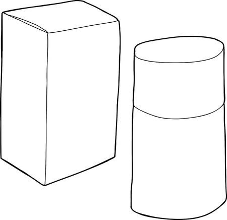 Outline cartoon of tiny box with fragrance bottle