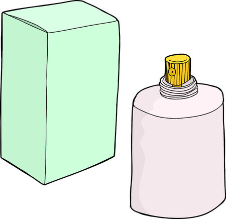 unprinted: Hand drawn generic cartoon spray bottle and box