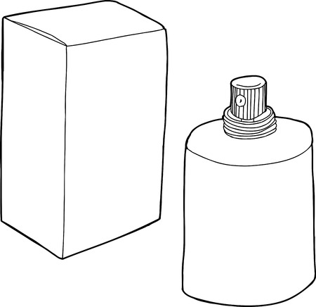 unprinted: Hand drawn generic cartoon perfume bottle and box