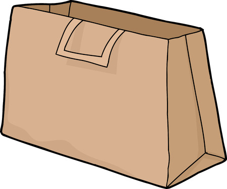 Empty brown shopping bag with handles on white Illustration