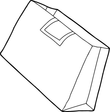 Single outline cartoon of brown shopping bag