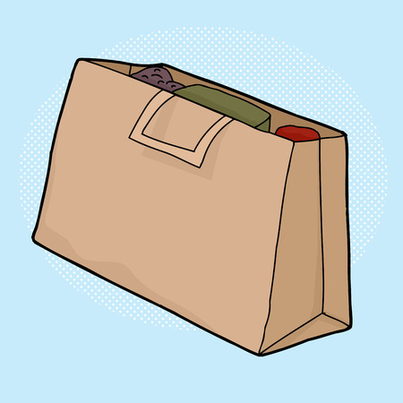 Full brown paper shopping bag over blue