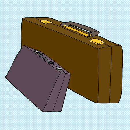 big size: Pair of small and large briefcases over blue