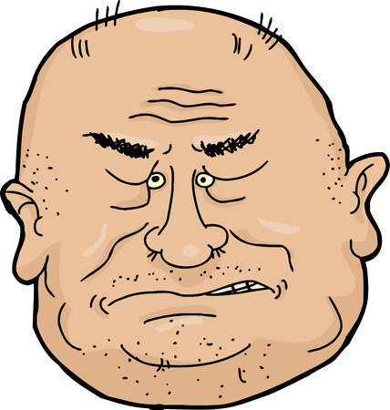 pissed off: Sneering balding senior man cartoon over white