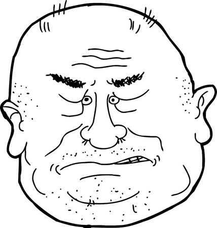 pissed off: Isolated cartoon outline of bald man sneering