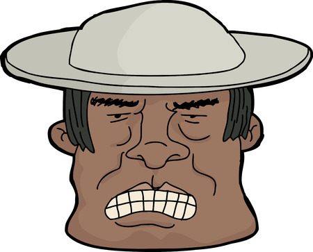 pissed off: Cartoon of furious Latino man with clenched teeth Illustration