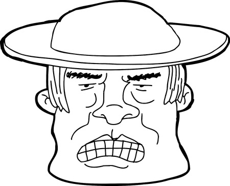 pissed off: Hand drawn outline of angry Asian man