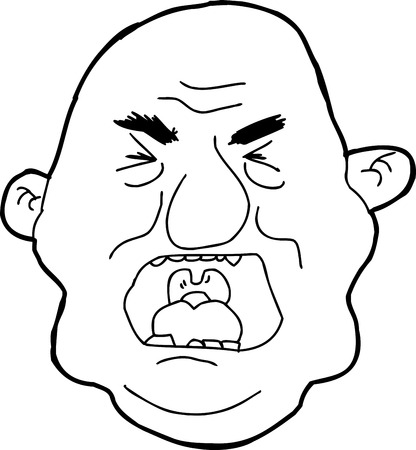 pissed off: hand drawn outline cartoon of angry man yelling