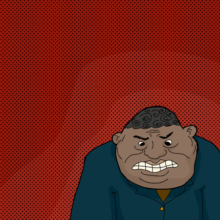 pissed off: Hand drawn cartoon of insulted single Black man