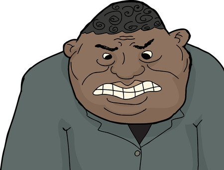 hunched: Cartoon of mad adult black businessman with clenched teeth