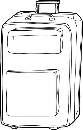 Outline of hand drawn cartoon suitcase over white