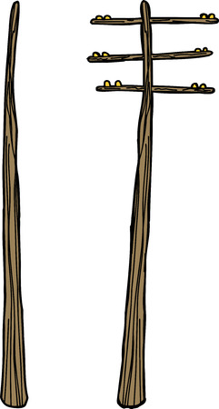 telephone pole: Single old wooden telephone pole over white background